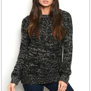 Black marbled crew neck knit sweater.